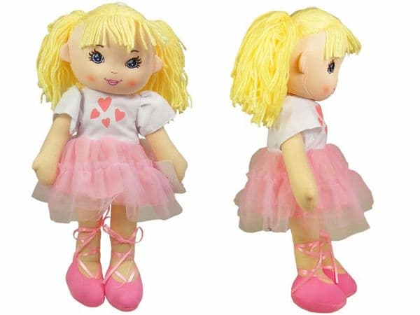 Rag Doll Traditional Soft Toy Cuddly Plush Body Ballerina Dress 40cm Colour choice